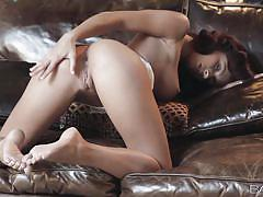 Victoria masturbates on the couch