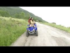 Couple fuck on a moving quad bike