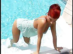 Redhead ashley robbins goes skinny dipping