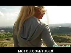Sexy young blonde czech jogger is paid for sex in a public park