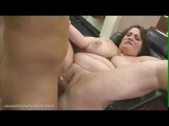 Big tit bbw wife fucks barber while she waits for husband