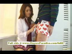 Risa tsukino asian girl in waitress uniform enjoys...