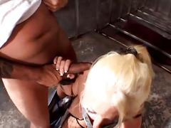 Horny blonde slave tortured and fucked in the ass