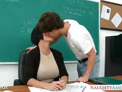 stockings, hardcore, pornstar, milf, blowjob, brunette, suck, fuck, teacher, busty, glasses, lingerie, classroom, big-tits, shay-fox, naughty-america