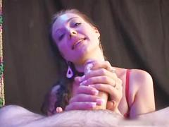 Hot slut stroking and sucking