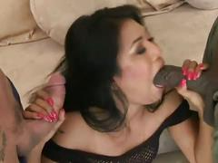 Horny asian's interracial extreme dp