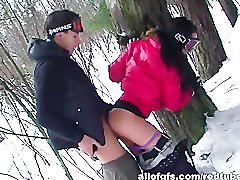 Hot russian couple fucking outdoor in the snow