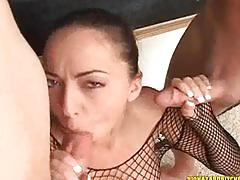 blowjob, brunette, cumshot, threesome, face-fuck, throa