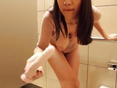 Public restroom dildo fuck