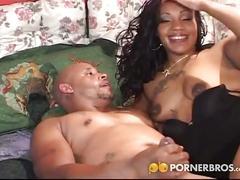 Big booty ebony gets dp in mmf threesome