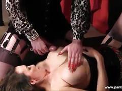 Hard cock sissy has footjob wank and cums on milf big tits