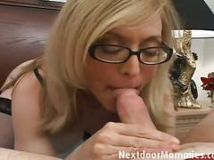 Blonde milf sucks cock and jerks it off for facial