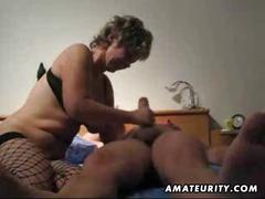 Mature wife toying fucking and giving handjob with cumshot