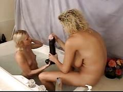 Hot milfs in foot fisting dildos and strap on