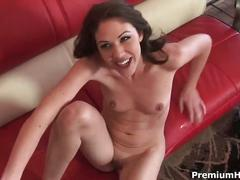 Milf katie nailed on her red couch