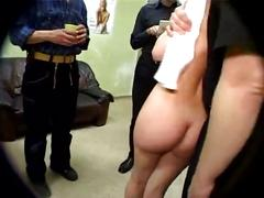 Guys gangbang and piss on german girl