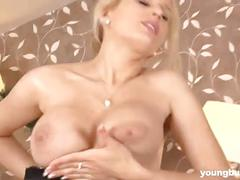 Busty young blonde kelly toy twat