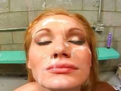 Blonde prisoner whore lustful in blowbang session