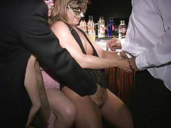 Pink nipple milf sucks tits cunt and cock at bar