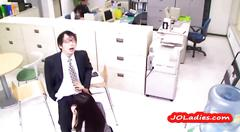 Office lady on her knees giving blowjob for guy in...