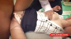 Office lady gangbanged by 3 guys in the office
