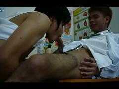 Skinny asian doctor sucking hot twink