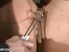 Blonde punished with hot wax and ice