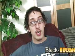 Curly latino opens for huge black cock