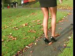 fetish, stilettogirl.com, high heels, feet, legs, kinky, babe, nylon, stockings, tease, outdoors, brunette, public, tight ass