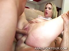 Two huge dicks break a hot blondie in two with deep dp