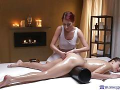 Highly erotic lesbian massage leads to sensual fingering