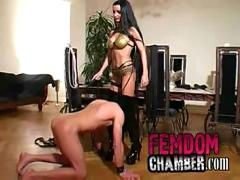 Dominatrix trains her male slave