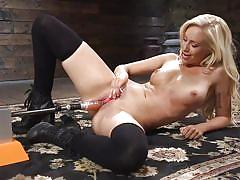 blonde, babe, boots, stockings, fucking machine, dildo, vibrator, moaning, pussy rubbing, fucking machines, kink, lyra law