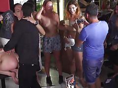 Kinky group fuck in public bar