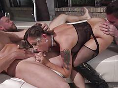 Tattooed brunette getting banged by a gang @ rocco's dirty girls