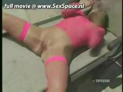 Ashley blue in pink dress fingered at swimming pool
