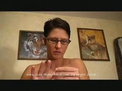cumshot, blowjob, handjob, brunette, mature, glasses, pov, shorthair