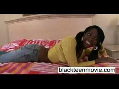 Cute ebony teen girl takes white dick in her