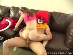 Teen rides a clown!