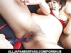 Yukina ishikawas trimmed pussy is filled with vibrators until she
