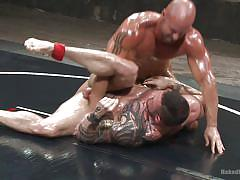 Oiled muscle men wrestle