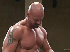 wrestling, blowjob, bald, tattooed, gays, muscular, hunk, tatami, naked kombat, kink men, seven dixon, mitch vaughn