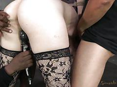 Milky white blonde tied and banged by a black guy