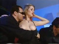 Threesome black stockings sex