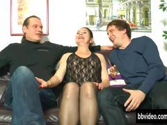 German milf suck dicks in threesome
