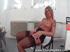 Amateur milf in black stockings