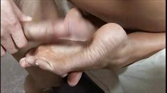 Cassandra cruz footjob and blowjob (cum on toes)