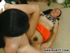 Hot amateur girlfriend sucks and fucks with cum on ass