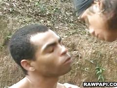 Lustful muscled latino hunks fucking hard outdoor