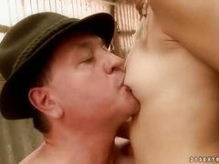 Teen fucking with a lucky old man